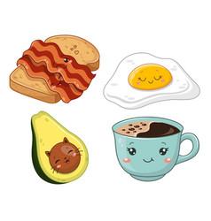 cute kawaii breakfast vector image
