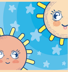cute suns in the sky vector image