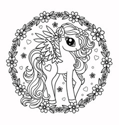 cute unicorn with flowers cartoon character vector image