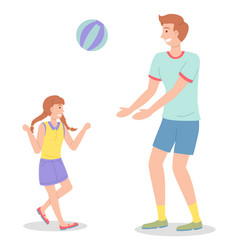 Dad and daughter playing outdoors playing active vector