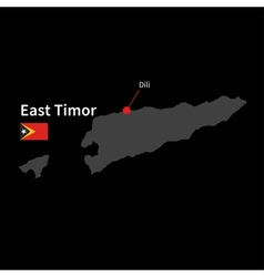 Detailed map of East Timor and capital city Dili vector