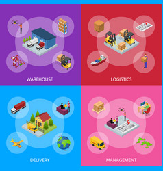 different types warehouse 3d banner set isometric vector image