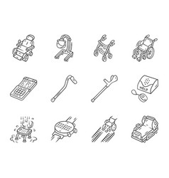 Disabled devices linear icons set mobility aid vector