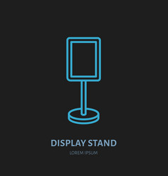 Display stand line icon advertising exhibition vector