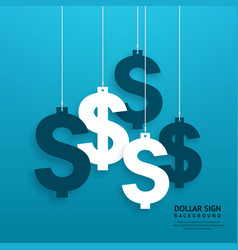 Dollar signs hanging on the ropes vector