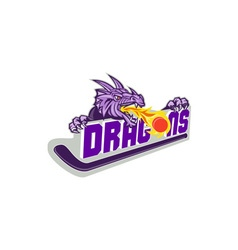 Dragon fire puck hockey stick retro vector