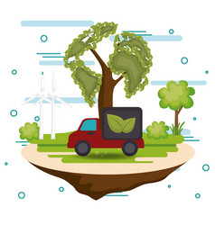 ecology car vehicle icons vector image