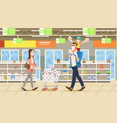 Family stocks groceries during a city pandemic vector