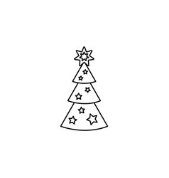 fir tree line icon black on white vector image