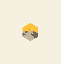 Geometric abstract with desert logo design icon vector