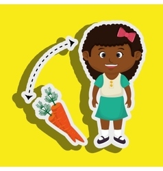 girl cartoon carrot vegetable organic vector image