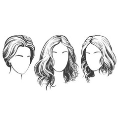 girl set beautiful woman face hand drawn vector image
