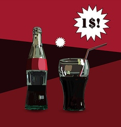 Glass and Bottle With price vector