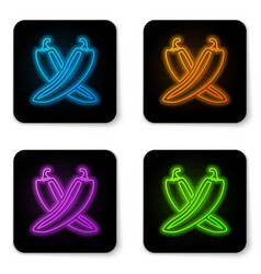 glowing neon crossed hot chili pepper pod icon vector image