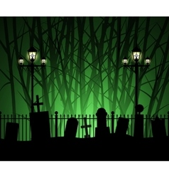 Graveyard cemetery tomb in forest and street lamp vector image