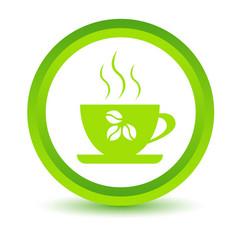 Green coffee icon vector