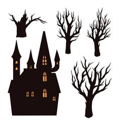 halloween elements vintage concept vector image