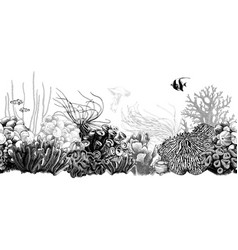Hand drawn black and white coral border vector
