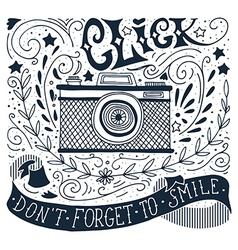 Hand drawn vintage print with a camera and hand vector image