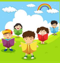 happy children reading books in park vector image