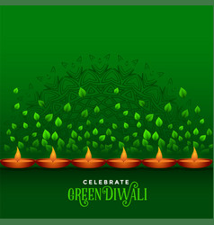 Happy diwali celebration eco green background vector