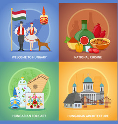 Hungarian culture compositions set vector