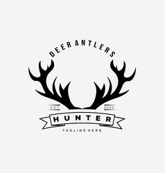 Hunter deer antlers logo design vector