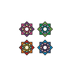 Islamic asian stained glass pattern mosaic logo vector