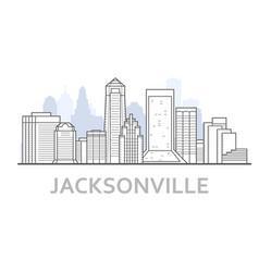 jacksonville city skyline florida - outline of vector image