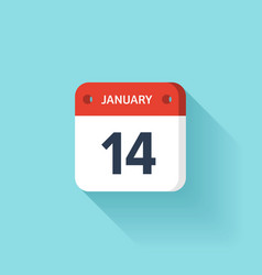 January 14 isometric calendar icon with shadow vector