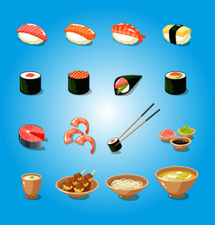 japan sushi food asia tasty culture oriental vector image