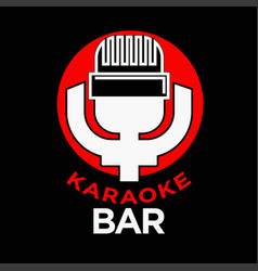 karaoke party promotional emblem with old vector image