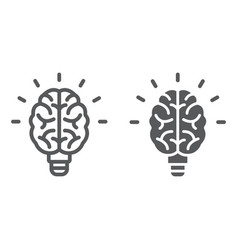light bulb brain line and glyph icon school and vector image