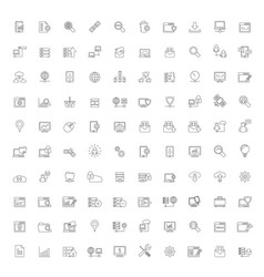 line internet website and user interface icons vector image