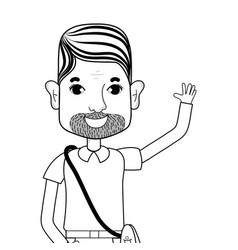 Line man with beard and hairstyle vector