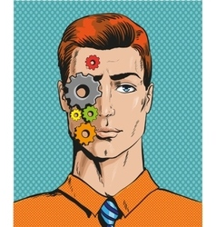 Man with cogwheels on face vector