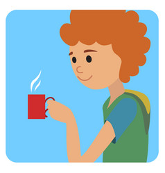 Man with cup in his hand drinking hot coffee vector