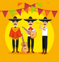Mariachi men with instruments and party banner vector