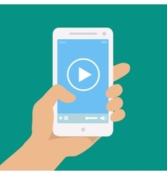 Mobile phone with video player on the screen in a vector image