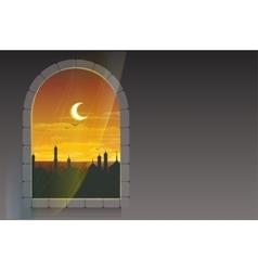 Month of Ramadan Moon over minarets Template vector image