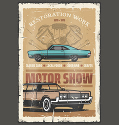 motor show retro poster with old vintage vehicles vector image