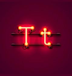 Neon font letter t art design singboard vector