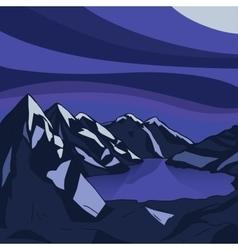 Night mountain Glacial lake landscape vector image
