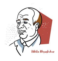 nikita khrushchev portrait vector image
