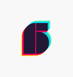 Number six logo with stereo effect vector