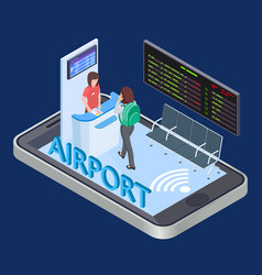 online check-in service mobile app isometric vector image