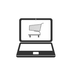 online shopping concept shopping cart on screen vector image