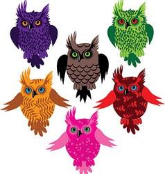 Owl bird set icon vector