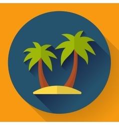 palm Island Travel Icon Flat designed style vector image