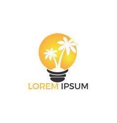 palm trees and bulb logo designisland and vector image